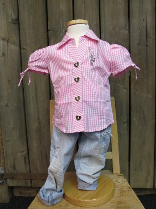 kidstracht trachtenbluse bluse rosa karo strass hirsch gr 86 164 zur lederhose ebay. Black Bedroom Furniture Sets. Home Design Ideas