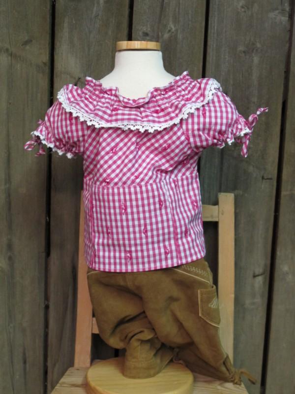 kidstracht bluse carmen trachtenbluse pink wei karo gr 86 164 zur lederhose. Black Bedroom Furniture Sets. Home Design Ideas