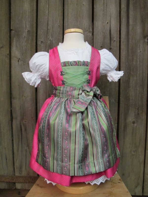 kidstracht dirndl kinderdirndl babydirndl mit bluse gr 62 158 pink gr n kleid ebay. Black Bedroom Furniture Sets. Home Design Ideas